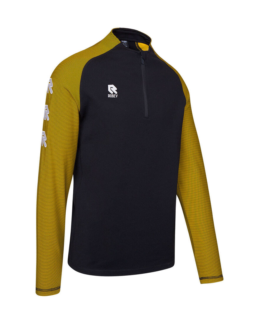 Performance Half-Zip Top, Black/Yellow, hi-res