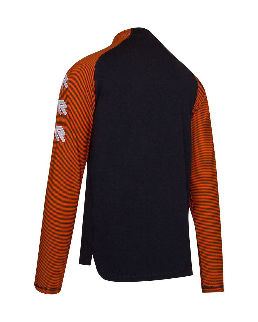 Performance Half-Zip Top, Black/Orange, hi-res